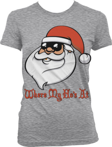 Where My Ho/'s At Santa Claus Sunglasses Christmas Funny Juniors T-shirt