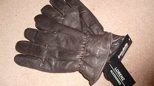 Mens-Brown-Leather-Gloves-By-Lorenz-With-Thinsulate-Fleece-Lining-S-New-Tagged