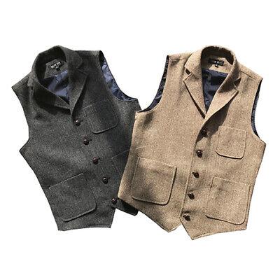 Retro Mens Tweed Business Formal Slim Fit Wool Blend Casual Vest Waistcoat Coat#