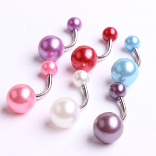 1 Paire Double Faux Pearl Boules Belly Button Bar Navel Ring Barbell Body Piercing