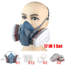 17 In1 Half Face Gas Mask Facepiece Spray Painting Respirator Safety Suit F 7502
