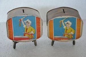 2-Pc-Vintage-Unique-TV-Shape-Litho-Tin-Coin-Safety-Boxes-Collectible