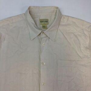 Joseph & Feiss Button Up Shirt Mens 2XL XXL Cream Short Sleeve 100% Silk Pocket