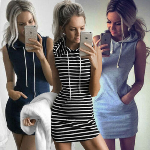 Bodycon Bandage Hoodies Mini Dress Damen Tops Size 6-14 Pullover Summer Slim
