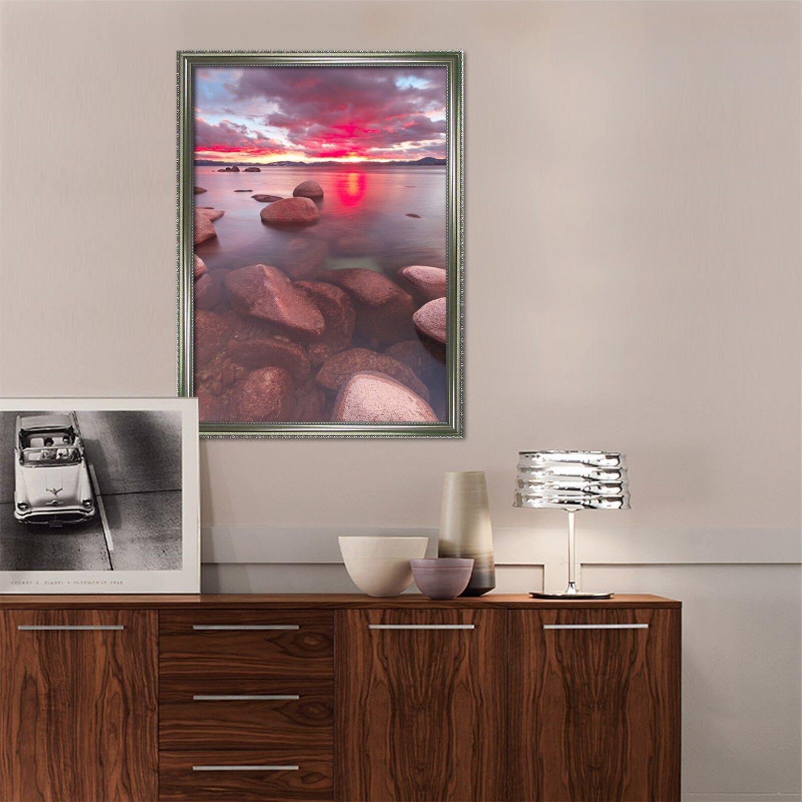 3D rojo puesta de sol Mar 2 Póster Enmarcado Decoración del Hogar Pintura de Impresión Arte AJ Wallpaper