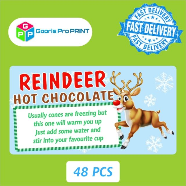 48x Christmas Reindeer Poem Hot Chocolate Sticker Label Business Xmas Fun Tag 27