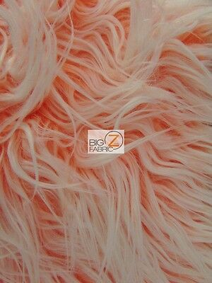 "FROSTED SHAGGY FAUX FUR LONG PILE FABRIC - Neon Orange - 60"" WIDTH BY THE YARD"