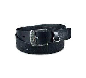 """Harley-Davidson Hombre Cuero Negro Cinturón de punto de acento 97620-17vm 32"""""""