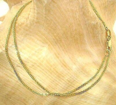 1.2MM ITALIAN 14K YELLOW GOLD FANCY DIAMOND-CUT SQUARE WHEAT CHAIN NECKLACE