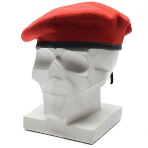 fcea1d8f0ca Genuine German army coral red beret Military hat command cap wool ...