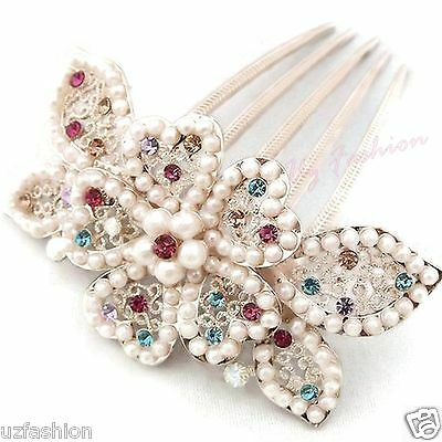 Gold Ivory Pearls Stunning Bridal Wedding Rhinestones Diamante Hair Comb