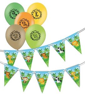 Safari-Cute-Animals-Bunting-15-flags-amp-Assorted-Animals-Balloons-pack-of-5