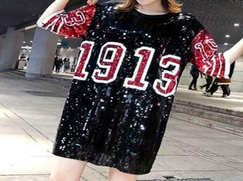 Delta Inspirot rot and schwarz 1913 Sequins Jersey w  FREE pair of Delta Earrings