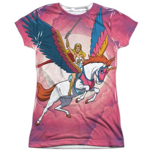 She-Ra Princess of Power Cartoon Flying Unicorn Junior Front Print T-Shirt