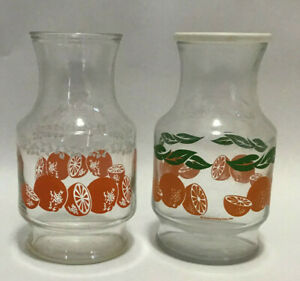 Lot-of-Two-Vintage-Anchor-Hocking-Orange-Juice-Pitchers-1980-039-s