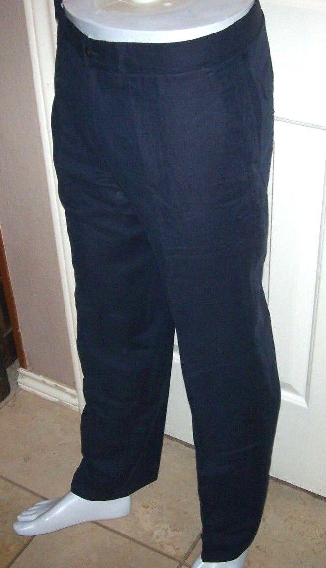 NEW Polo Ralph Lauren Classic fit linen silk pants flat front Aviator navy 33 32