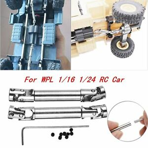 2x-Metall-Antriebswelle-Driving-Shaft-Fuer-WPL-1-16-1-24-Military-RC-Crawler-Car