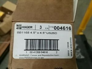 Hager Full Mortise Steel Hinge HT-BB1168 5.0 x 4.5 US26D//652 Satin Chrome Box of 3 Heavy Weight Ball Bearing hinges Hospital Tip