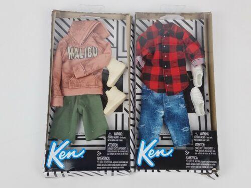 Barbie Ken Fashion Hoodie Flannel and shorts clothing packs lot of 2