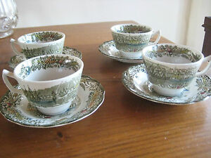 VINTAGE-RIDGWAY-CHINA-HERITAGE-PATTERN-4-CUPS-AND-SAUCERS