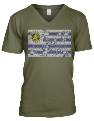 Uruguay Spatter Flag Uruguayan Orgullo Bandera Uruguaya Mens V-neck T-shirt