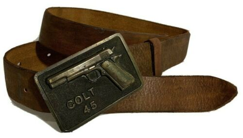 1975 Adezy Denver Colt 45 Brass Men's Buckle Tan/B