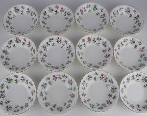 12-x-Dessert-Bowls-Fruit-Nappies-Royal-Albert-Winsome-Vintage-England-pink-roses