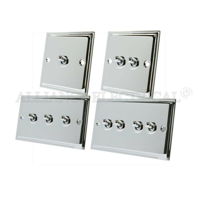 10A Double 2 Way White Insert Metal Rocker Switches Classic Light Switch 2 Gang Polished Chrome