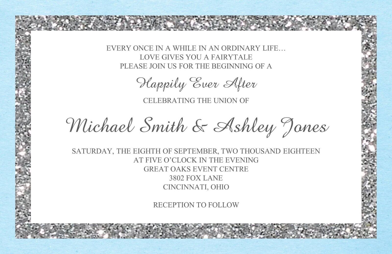 Wedding Invitations Simple Glitter  - 50 Invitations & RSVP Cards Any Farbes
