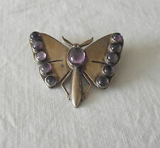 Beautiful Silver Butterfly Brooch with Amethyst Stones