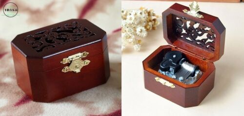 WOODEN OCTAGON CARVING MUSIC BOX  ♫ TITANIC MAIN THEME SOUNDTRACK