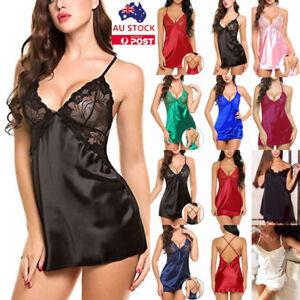 Womens-Lace-Satin-Silk-Babydoll-Nightdress-Nighty-Lingerie-Sleepwear-Nightwear