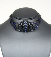 "17"" blue crystal victorian choker bib collar necklace boho 1.25"" earrings"