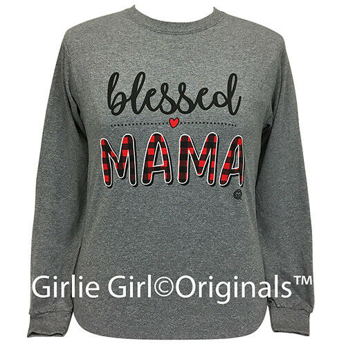 Girlie Girl Originals Tees Blessed Mama - Plaid Long Sleeve Graphite T-Shirt
