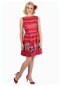 bb456cf86 Kitsch Vintage Style 1950s Red Jive Record Print Dress Size 12 Retro ...