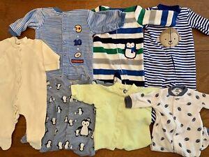 Huge Newborn 0 3 Months Baby Boy Clothes Lot Pajamas Sleepers Zipper Fleece Ebay