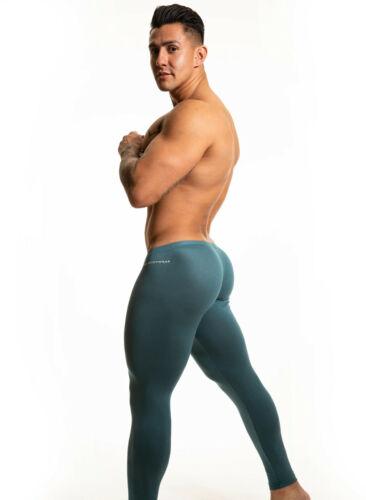 N2N Bodywear Men teal blue Rayon pouch tights size M L or XL