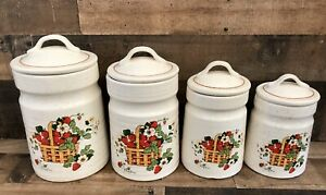 Vtg-Canister-Set-4-Piece-Strawberry-Cindy-Sims-Stoneware-MCM-Treasure-Craft