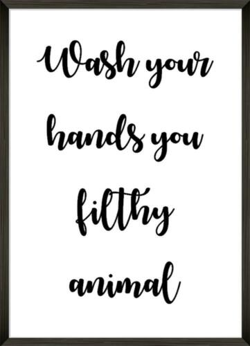 FILTHY ANIMAL Funny Bathroom Print Contemporary Wall Art Poster Toilet Home