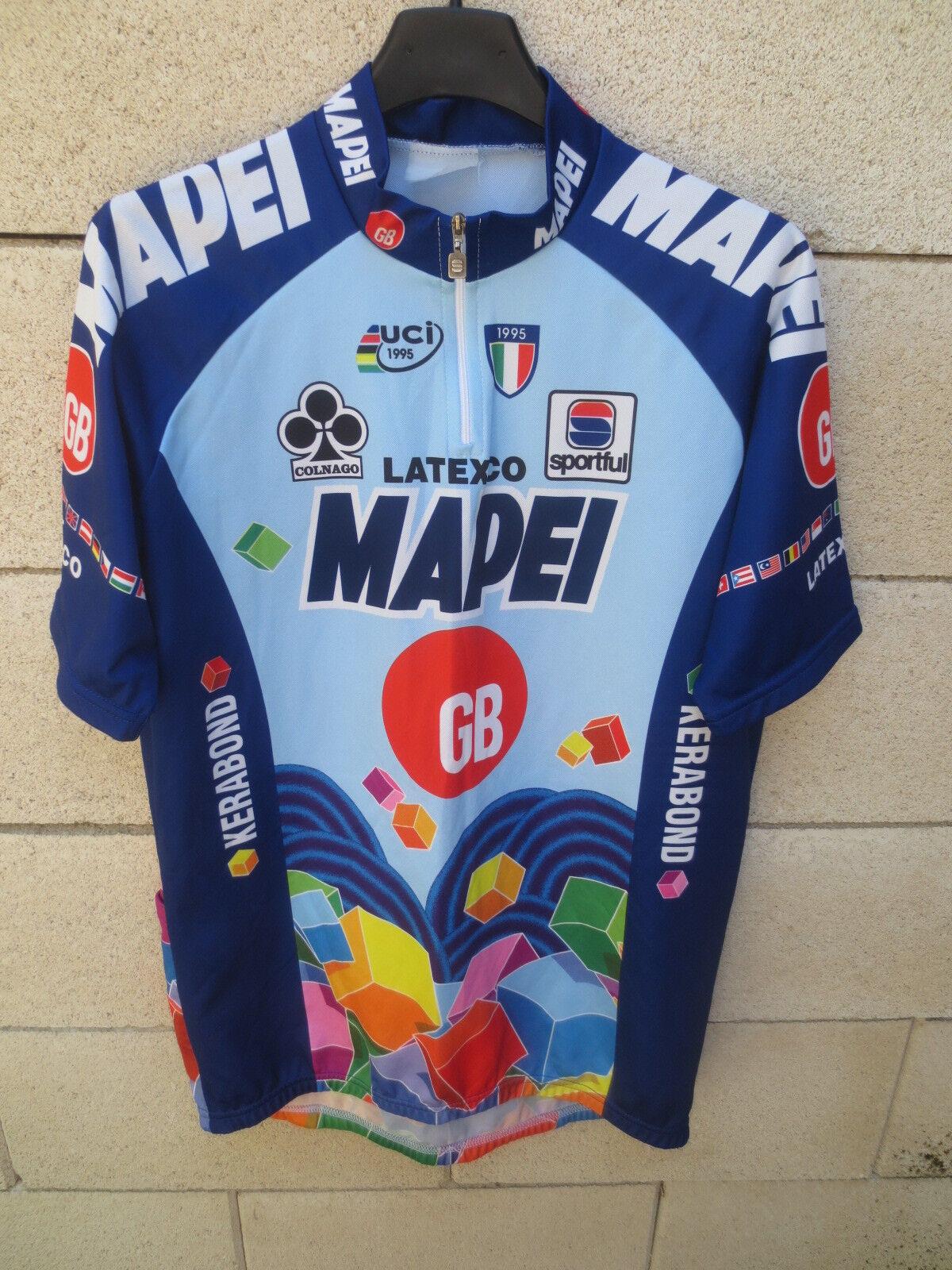 Maillot cycliste MAPEI GB vintage 1996 ROMINGER STEELS MUSEEUW shirt trikot XXL