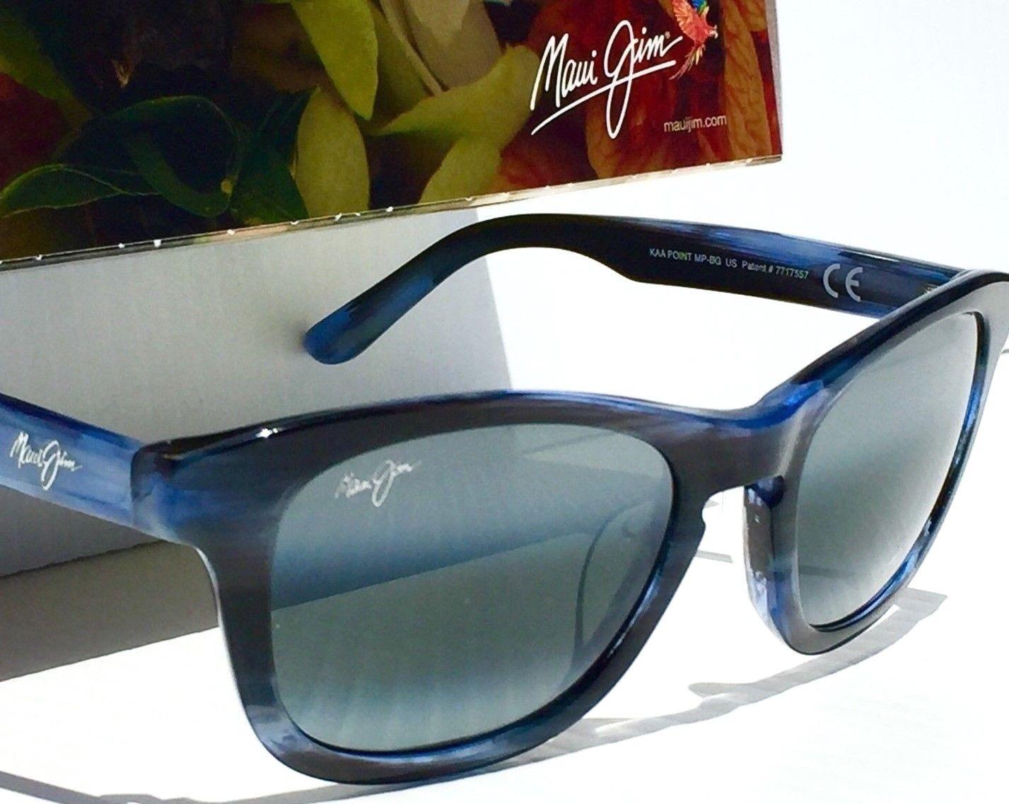 3cf066aedb Maui Jim Ka a Point Sunglasses Blue 713-03e Wayfarer Polarized for sale  online