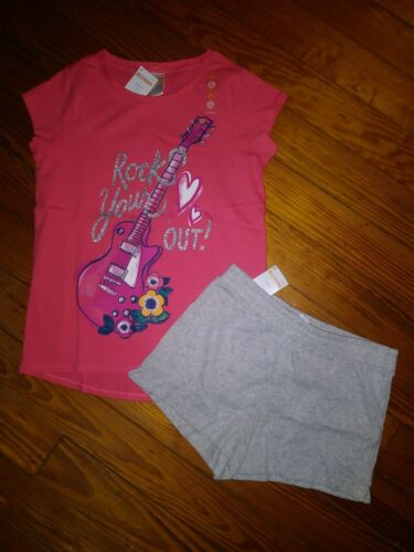 NWT Gymboree Girls Outfit Short Sleeve Shirt Knit Shorts Gray Coral Size 10-12