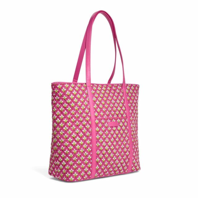 NWT Vera Bradley Trimmed Vera Petite Pink Large Zippered Tote Bag Free  Shipping 5915005346549