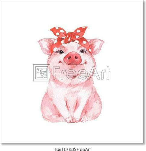 Wall Art Poster Home Decor Ffunny Pig Wearing Art Print // Canvas Print