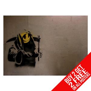 Banksy-Smiley-GRIM-REAPER-Poster-Arte-Impreso-A4-A3-Buy-2-GET-ANY-2-Free