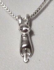 SILVER TINY CAT NECKLACE pendant/charm chain kitten kitty kawaii neko N4