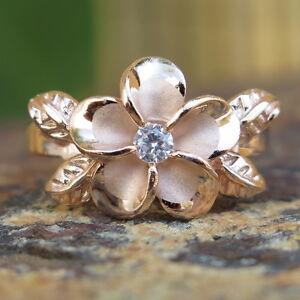 Hawaiian Silver Rose Gold 4 Leaves Plumeria Flower CZ Wedding Ring