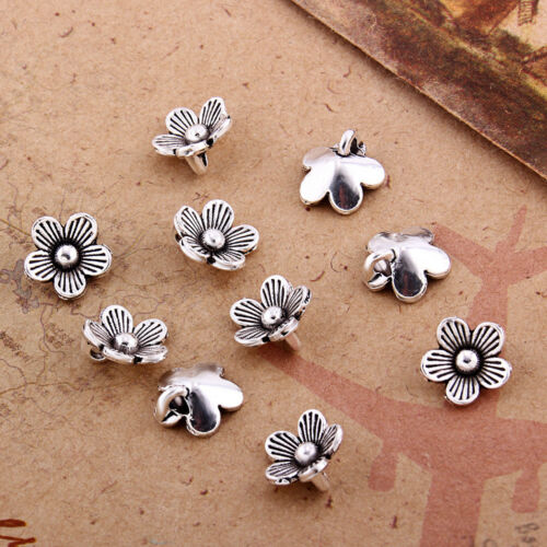 10x Flower Shaped Charm Tibetan Silver Beads Fit DIY Jewelry Making