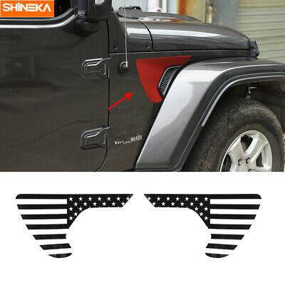 HOTRIMWORLD Red ABS Front Fender Side Air Vent Outlet Trim Cover 2pcs for Jeep Wrangler JL 2018-2019