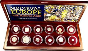 Medieval-Europe-The-Middle-Ages-A-Collection-of-12-Silver-Coins-In-Wood-Box